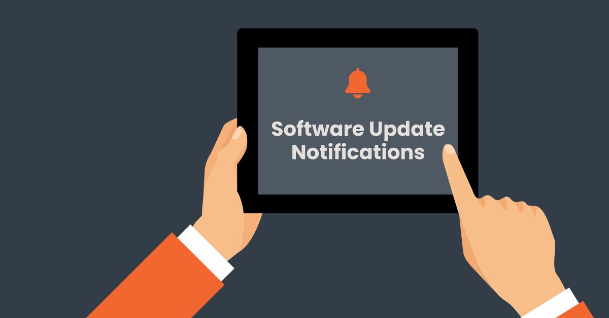 Software update notification on ipad