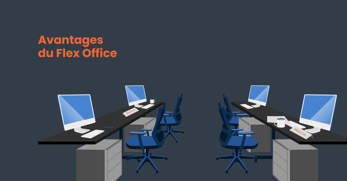 Des ordinateurs installés sur des espaces de travail commun à air ouverte