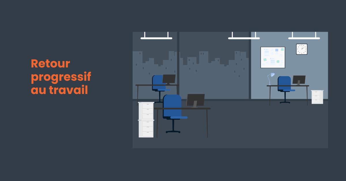 espace de bureau à préparer le retour progressif au travail après la covid