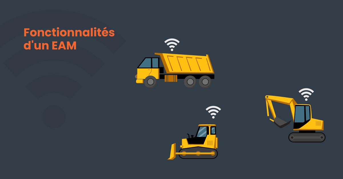 Des camions de construction pour expliquer les fonctionnalités de la gestion des actifs d'entreprise